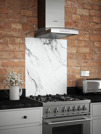 Carrara Marble Self-Adhesive Glass Splashback