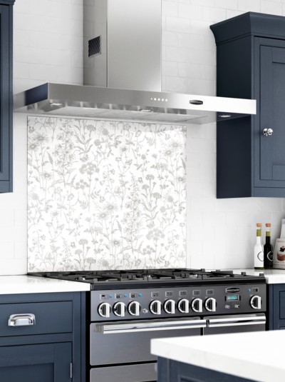 Laura Ashley Lisette White Self-Adhesive Glass Splashback