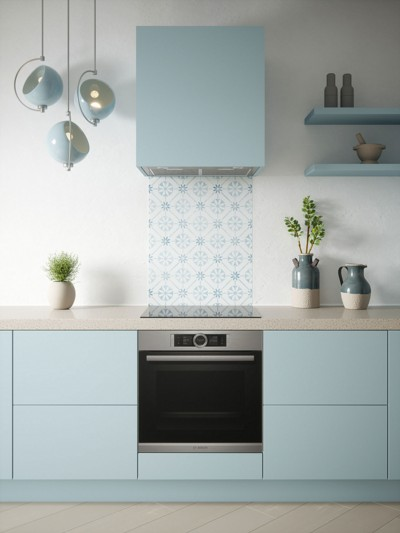 House Beautiful Heritage Sky Blue Self-Adhesive Glass Splashback