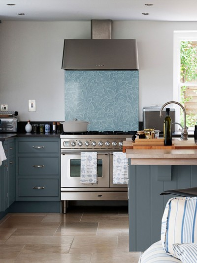 Country Living Acanthus Leaf Air Force Blue Self-Adhesive Glass Splashback