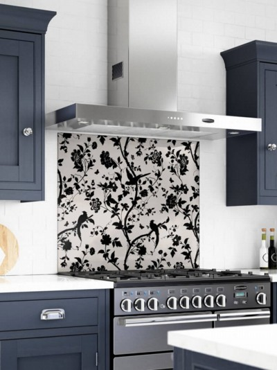 Laura Ashley Oriental Garden Charcoal Self-Adhesive Glass Splashback