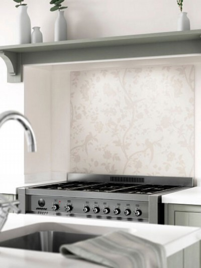 Laura Ashley Oriental Garden Pale Biscuit Self-Adhesive Glass Splashback