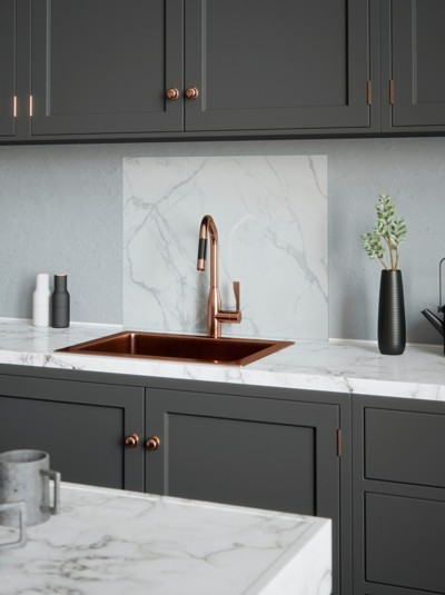 House Beautiful Calacatta Marble Self-Adhesive Glass Splashback