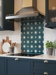 House Beautiful Jasper Indigo Self-Adhesive Glass Splashback